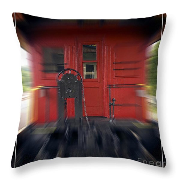 Red Caboose Throw Pillow by Edward Fielding