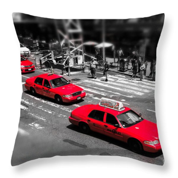 Red Cabs On Time Square Throw Pillow by Hannes Cmarits