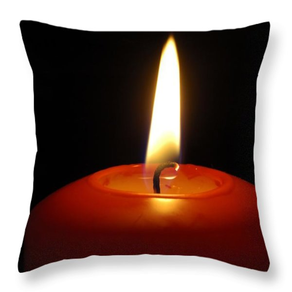 Red candle burning Throw Pillow by Matthias Hauser