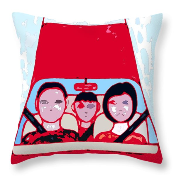 Red Car Throw Pillow by Patrick J Murphy