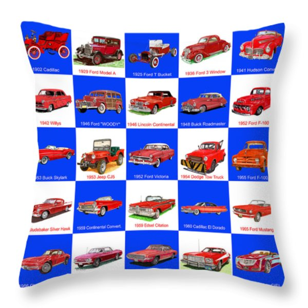 Red Cars Of America Throw Pillow by Jack Pumphrey