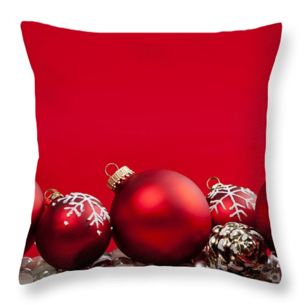 Red Christmas baubles and decorations Throw Pillow by Elena Elisseeva