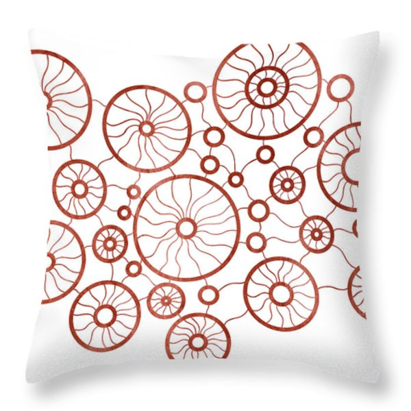 Red Circles Throw Pillow by Frank Tschakert