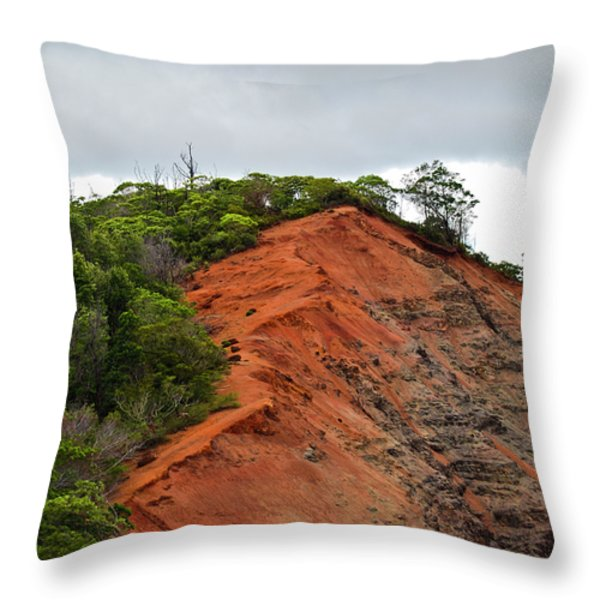 Red Cliff At Waimea Throw Pillow by Christi Kraft