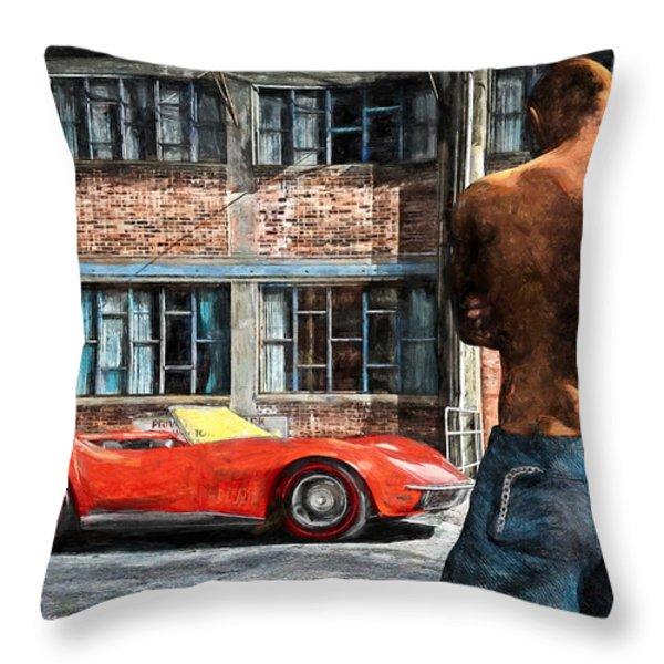 Red Corvette Throw Pillow by Bob Orsillo