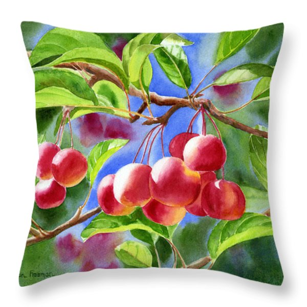 Red Crab Apples With Background Throw Pillow by Sharon Freeman