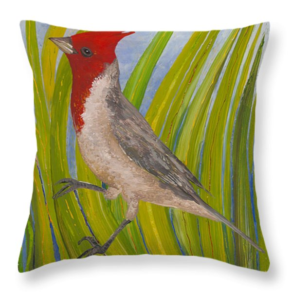 Red-crested Cardinal Throw Pillow by Anna Skaradzinska