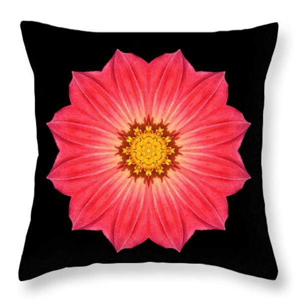 Red Dahlia Hybrid I Flower Mandala Throw Pillow by David J Bookbinder