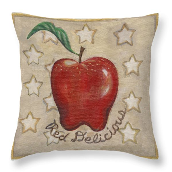 Red Delicious Two Throw Pillow by Linda Mears