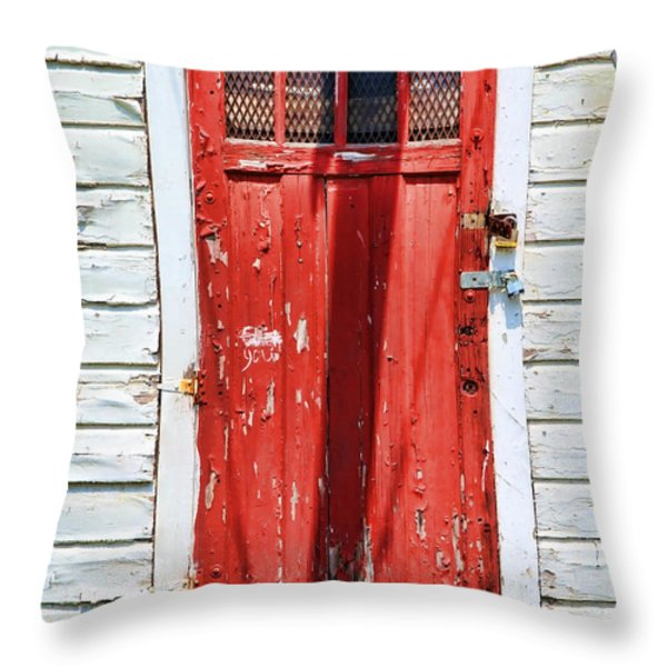 Red Door By Diana Sainz Throw Pillow by Diana Sainz