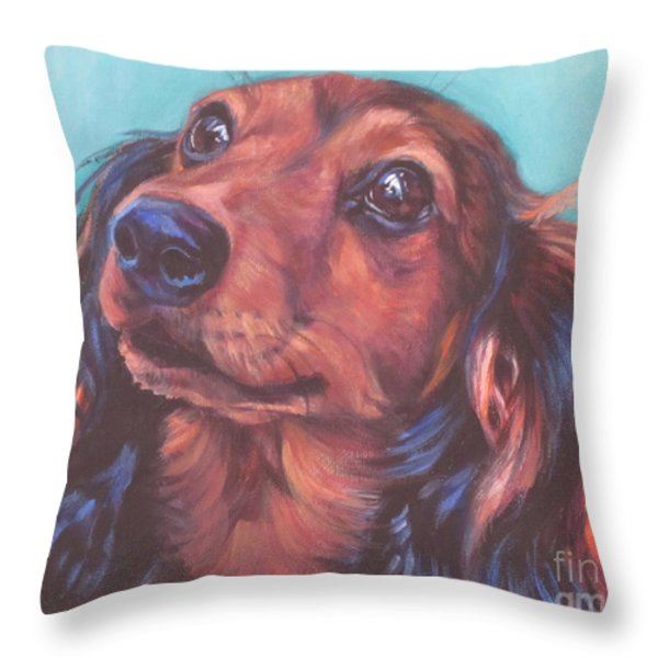 Red Doxie Throw Pillow by Lee Ann Shepard