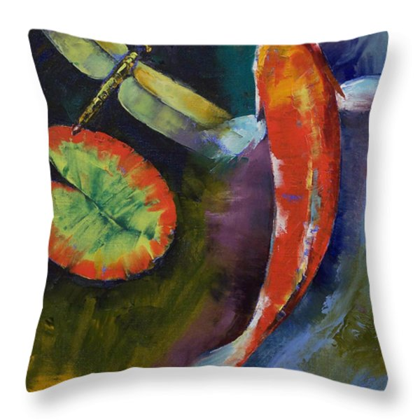 Red Dragon Koi Throw Pillow by Michael Creese