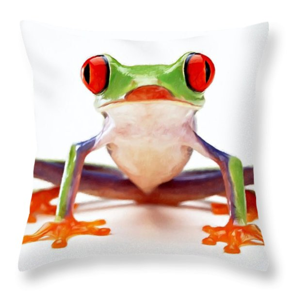Red-eye Tree Frog 2 Throw Pillow by Lanjee Chee