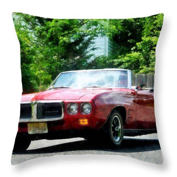 Red Firebird Convertible Throw Pillow by Susan Savad