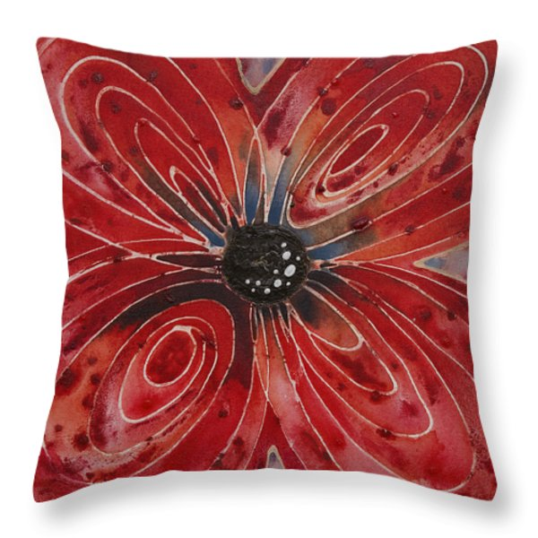 Red Flower 2 - Vibrant Red Floral Art Throw Pillow by Sharon Cummings