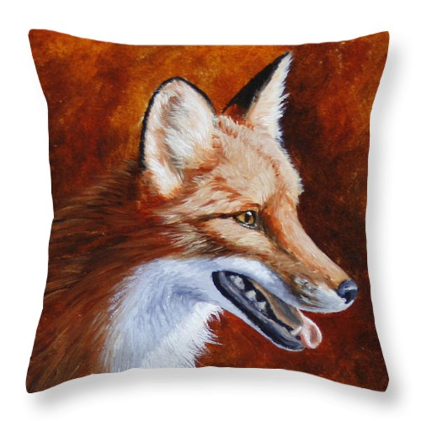 Red Fox - A Warm Day Throw Pillow by Crista Forest