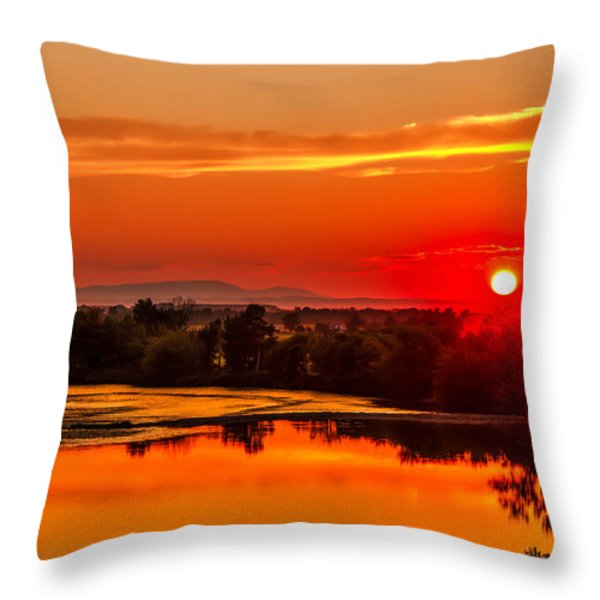 Red Glow Throw Pillow by Robert Bales