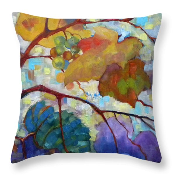 Red Grape Vines III Throw Pillow by Peggy Wilson