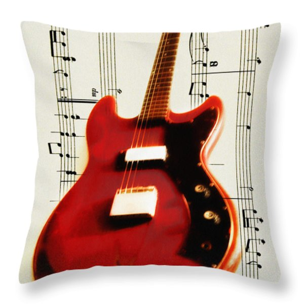 Red Guitar Throw Pillow by Bill Cannon