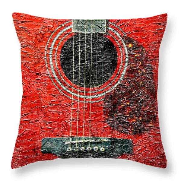 Red Guitar Center - Digital Painting - Music Throw Pillow by Barbara Griffin