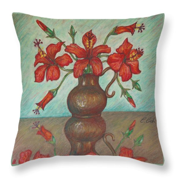Red Hibiscus with Blue Background Throw Pillow by Claudia Cox
