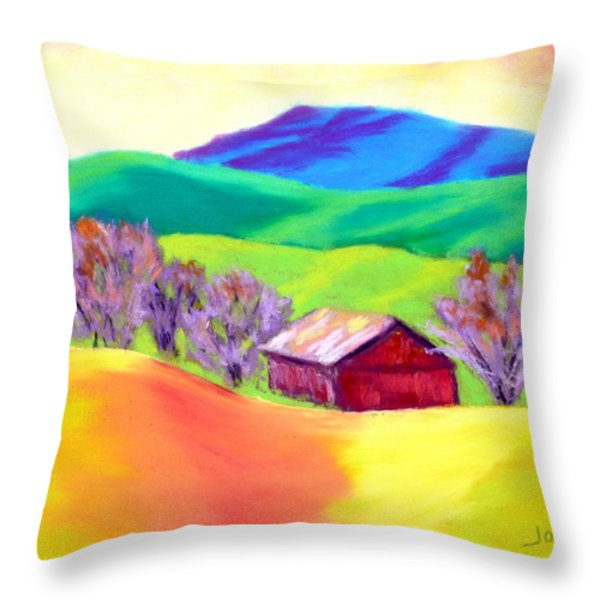 Red Hill Barn Throw Pillow by Nancy Jolley