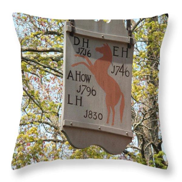 Red Horse Prances Throw Pillow by Barbara McDevitt
