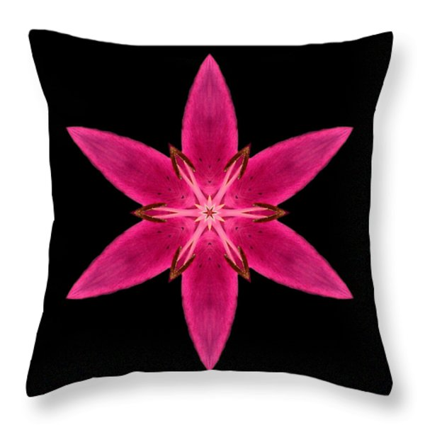 Red Lily I Flower Mandala Throw Pillow by David J Bookbinder