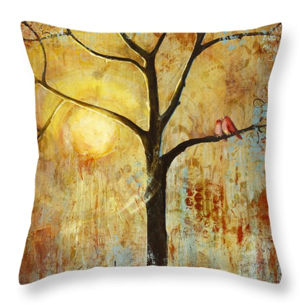 Red Love Birds in a Tree Throw Pillow by Blenda Studio