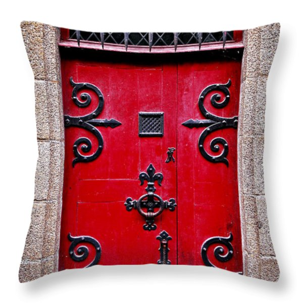 Red medieval door Throw Pillow by Elena Elisseeva