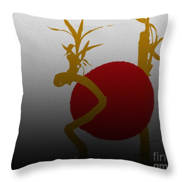 Red Moon Throw Pillow by Cheryl Young