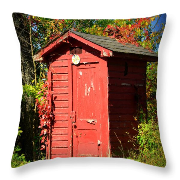 Red Outhouse Throw Pillow by Paul Ward