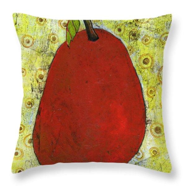 Red Pear Circle Pattern Art Throw Pillow by Blenda Studio