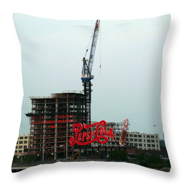 Red Pepsi Sign  Throw Pillow by Avis  Noelle