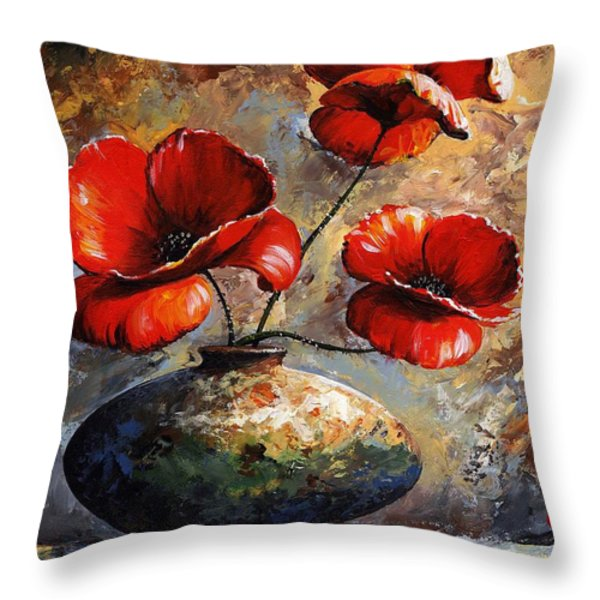 Red Poppies 02 Throw Pillow by Emerico Imre Toth