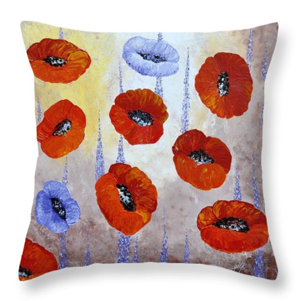 Red Poppies Throw Pillow by Georgeta  Blanaru