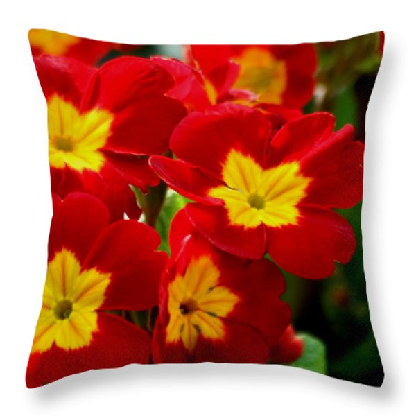 Red Primroses Throw Pillow by Art Block Collections