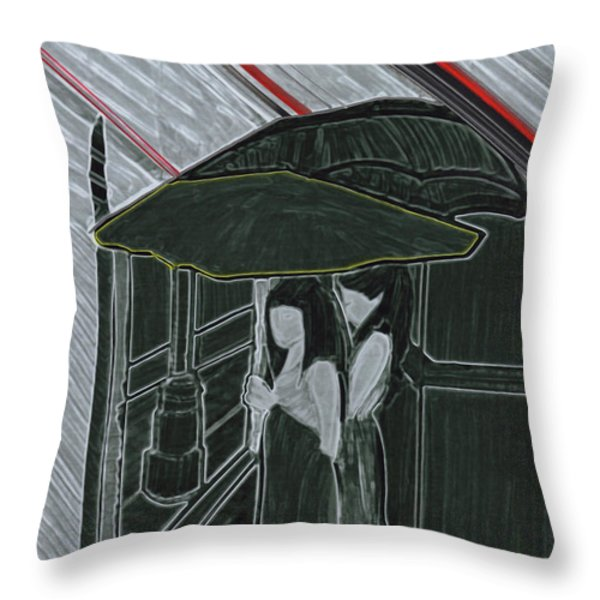 Red Rain Throw Pillow by First Star Art