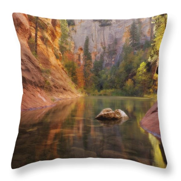 Red Rock Autumn Throw Pillow by Peter Coskun