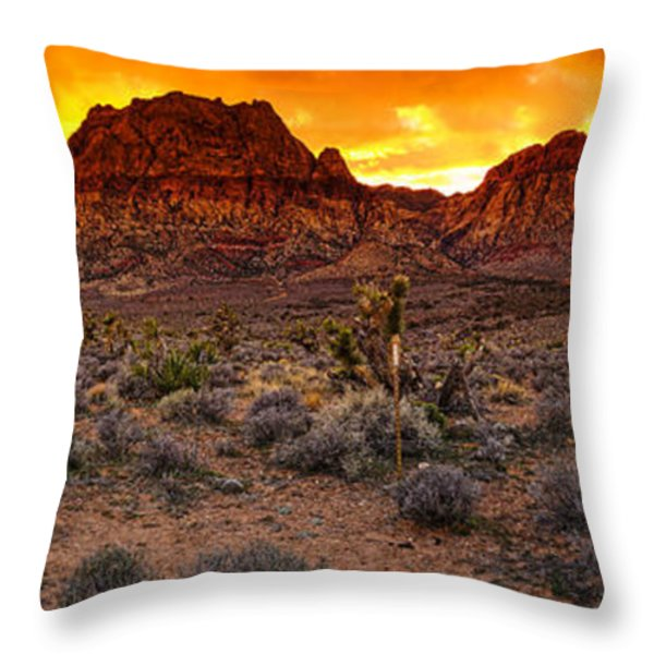 Red Rock Canyon Las Vegas Nevada Fenced Wonder Throw Pillow by Silvio Ligutti