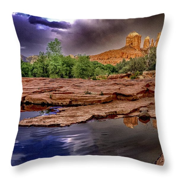Red Rock Crossing Red Rock State Park Throw Pillow by  Bob and Nadine Johnston