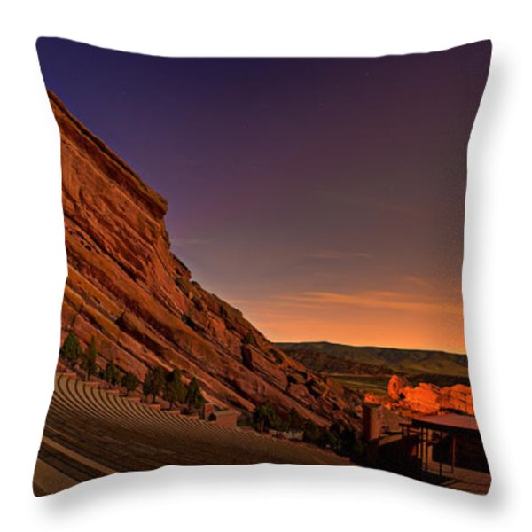 Red Rocks Amphitheatre at Night Throw Pillow by James O Thompson