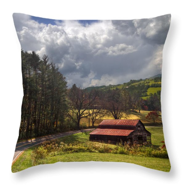 Red Roof Barn Throw Pillow by Debra and Dave Vanderlaan