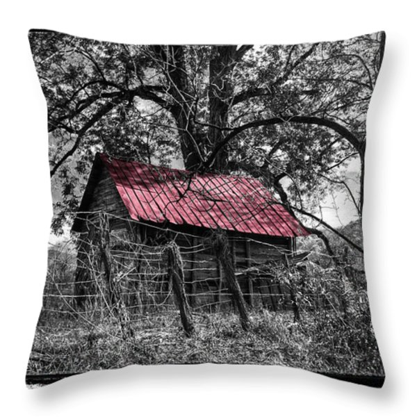 Red Roof Throw Pillow by Debra and Dave Vanderlaan