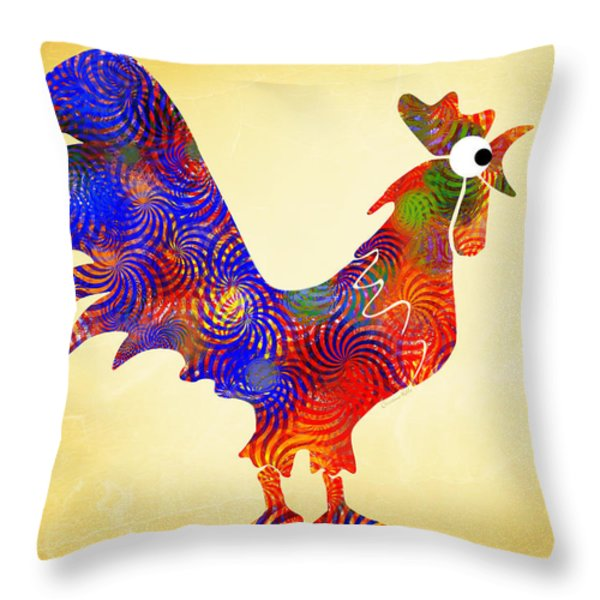 Red Rooster Art Throw Pillow by Christina Rollo