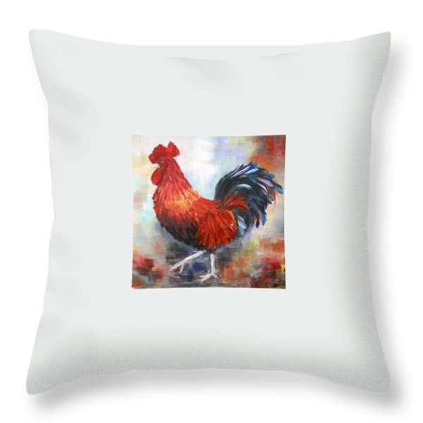 Red Rooster Throw Pillow by Dorothy Maier