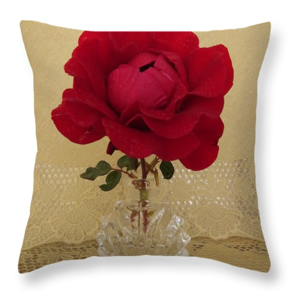 red rose III Throw Pillow by Zina Stromberg