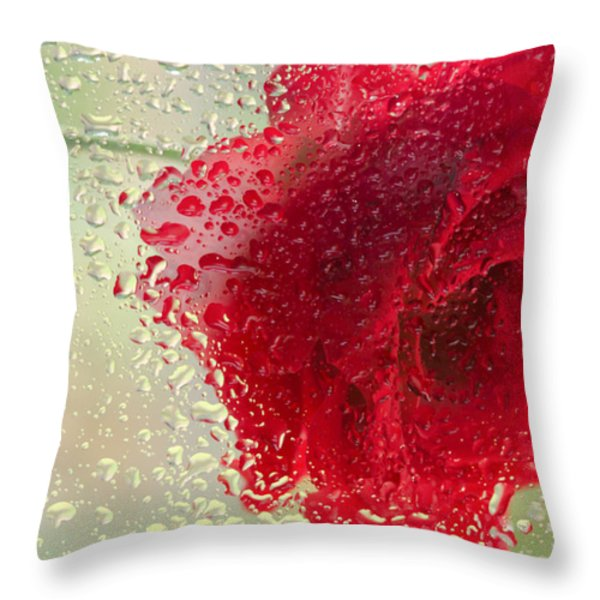 Red Rose In The Rain Throw Pillow by Don Schwartz