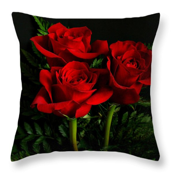 Red Roses Throw Pillow by Sandy Keeton