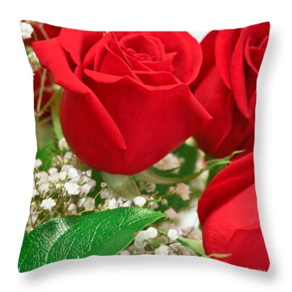 Red Roses with Baby's Breath Throw Pillow by Ann  Murphy